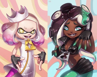 Off the Hook Pearl or Marina Splatoon 2 Art Poster Prints