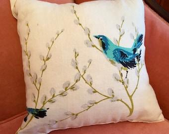 Throw Pillow Made with Vintage , Blue Bird Print Linen Tablecloth