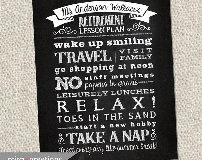 Retirement Art DIGITAL File - Chalkboard Art - subway art - teacher retirement gift - teacher gift - retirement art - Printable Digital File