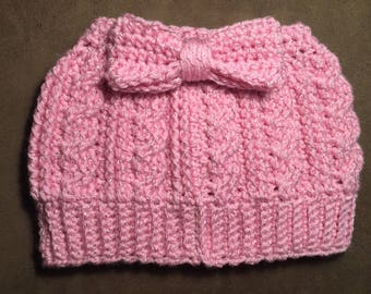 Cabled Messy Bun Bow Hat