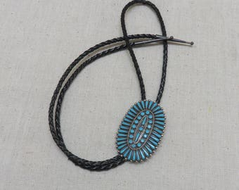 Vintage Sterling Turquoise Native American Petit Point Bolo Tie