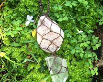 Love and light lepidolite and quartz crystal macrame necklace