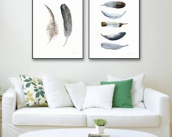 Set of art prints. 2 feather wall art. Minimalistic posters. Set of 2 nordic watercolour paintings. Scandinavian wall art. Affiche Scandi.