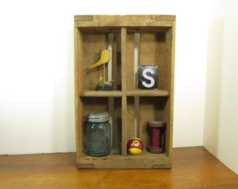 Vintage Yellow Coca Cola Crate, 1960 Four Section Shadow Box Display Shelf