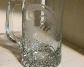glass Etched Beer Mug (fsu)