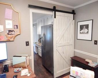 Atlanta Interior Sliding Barn Door Classic British Brace Arrow Barn Door - Single Door - Includes Sliding Hardware