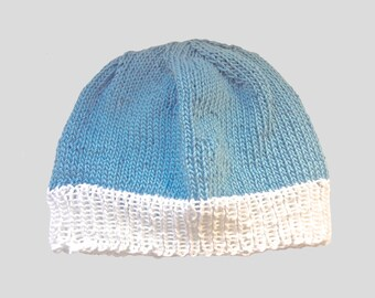 baby cap , knitted baby cap , light blue , withe , hand knitted