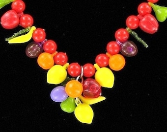 Fruit Salad Necklace Vintage Red Carmen Miranda Statement Charms Cha Cha Modernist Lipstick Hollywood Beaded That 70's Show 60s Beach Party