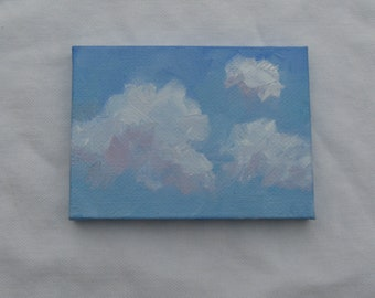 Nursery Painting ACEO Original Clouds Oil Painting One of a Kind Unique Gift for Him or Her Miniature Canvas Jennifer Boswell