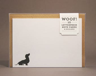 Woof! Dog Silhouette Letterpress Note Cards