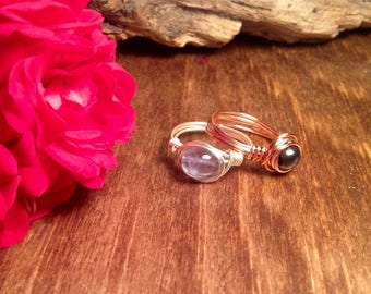 Healing Crystal Rings/Wire Wrapped Crystal Rings/Mother and Daughter rings/Best Friend Rings