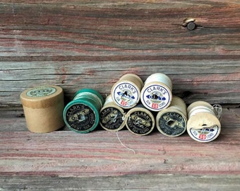 Vintage Wooden Spools - Set of 7 Plus Crochet Thread Container