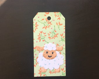 Paper Gift Tag With Sheep Design