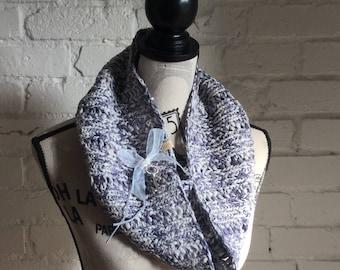 Denim Stonewash Rib Lace Cotton & Wool Bulky Cowl