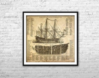 Old ship blueprint canvas art nautical map boys office pirate ship blueprint archival paper print canvas print warship poster british ship wall art home malvernweather Image collections