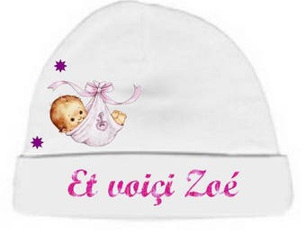 White baby Beanie here... personalized with name