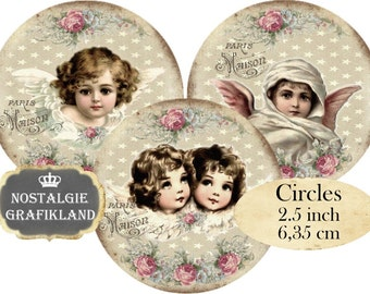 Angels Victorian Angels Shabby Chic Circle 2.5 inch printable Instant Download digital collage sheet C162