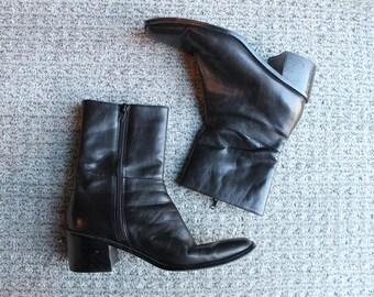Vintage black leather heeled boots size 6 M