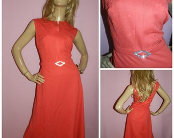 Vintage 70s CORAL DIAMANTE trim Embroidered bodice maxi evening dress 14 1970s