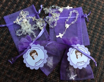 24 organza bags with mini rosaries included and thank you card- girl communion favors- first communion girl favors -first communion rosary