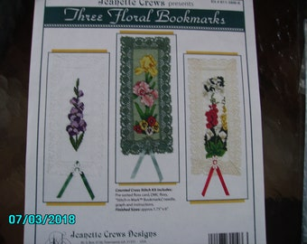 3 Floral Cross Stitch Bookmarks by Jeanette Crew