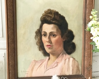 A beautiful 1940's French oil painting of a portrait of a lady