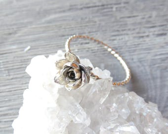 Succulent ring, Sempervivum, Silver rings, Silver stacking rings, nature jewelry, succulent jewelry, wedding jewelry, Hens and chicks