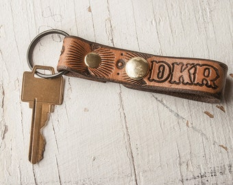 Custom Leather Key Ring and Fob - Snap closure - monogram, initials, personalize - quick release