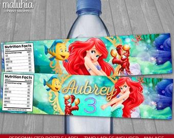 Little Mermaid Ariel Water Bottle Label - PERSONALIZED - Disney Little Mermaid Birthday Party Printable Label - Princess Ariel (LMBT01)
