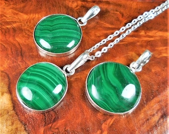 Malachite Necklace - Green Gemstone Cabochon Pendant - Circle Charm - Silver Bezel Crystal Earrings (B53) Healing Crystals and Stone Jewelry