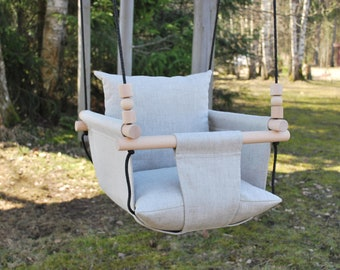 Baby Swing***Ships Fast***Toddler Swing/ Natural Linen Swing/ Linen Swing/ Indoor Swing/First Birthday Gift/ Fabric Swing/ Grey Linen