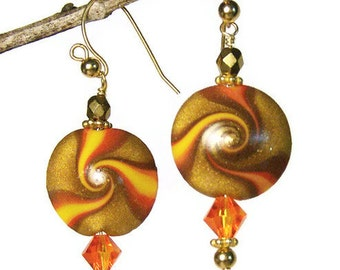 Pierced Earrings Handmade Polymer Clay Jewelry Swarovski Crystal Swirled Lentil Beads Goldplated Wires