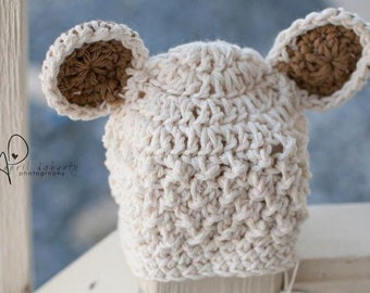 Crochet baby bear cotton beanie for newborn--taupe accented kidlid