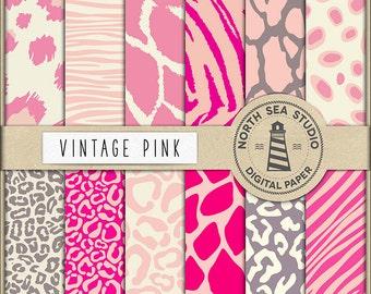 VINTAGE SAFARI, Pink Animal Paper, Pink Safari Backgrounds, Animal Print Paper, For Card Making, Digital Paper, Coupon Code: BUY5FOR8