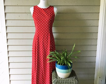 Vintage My Michelle Dress, Women's Size 7/8, My Michelle Red and White Polka Dotted Dress, Long Red Vintage Dress