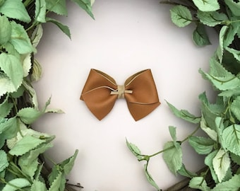 Caramel Tan Brown Faux Leather Bow {ALICE style} - Easter - Easter 2018