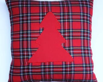 Scottish Royal Tartan Pillow with embroidered tree