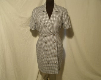 1980's Fitted Shirt Dress Double Breasted Button Front Blue White Check Woven Rayon Polyester Blend Vintage La Belle Women's US Size 9