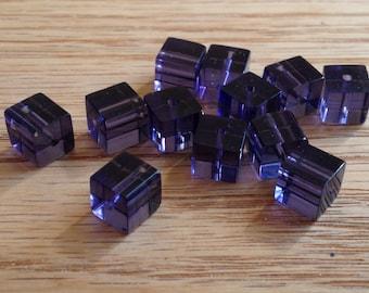 Purple  Glass Cube Beads 6mm 12 PCs Small Cube Beads Purple Beads Glass Beads Dark Purple Glass Beads