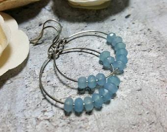 Sterling Silver hoops blue angelstone #1669