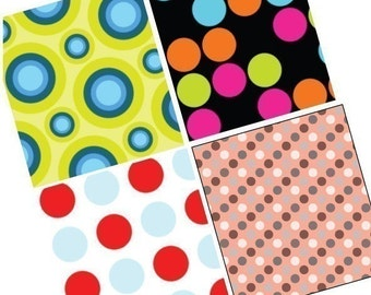Funky Dots - One (1x1) Inch (25mm) Square Pendant Images - Digital Collage Sheet - Pendant Images - Buy 2 Get 1 Free - Instant Download