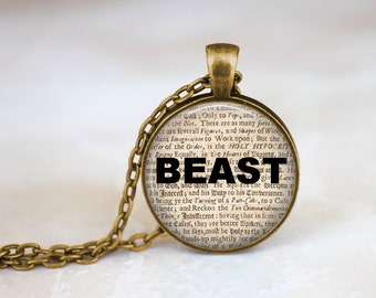 Beauty and the beast necklace, Beast newspaper jewelry, Old newspaper necklace, Antique Newspaper pendant, Beast word necklace Beast Jewelry