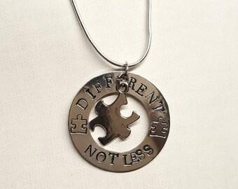 Different Not Less Autism Necklace - Autism Necklace - Autism Awareness Necklace - ASD Necklace - Autism Support Necklace - Autism Mom