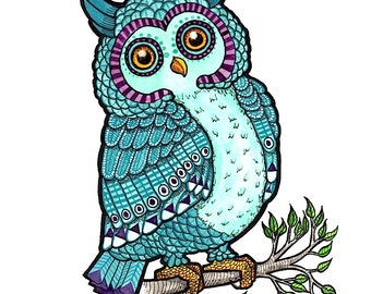 Teal Blue and Purple Owl - Art Print - Watercolor Painting