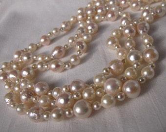 Sale,Rare Akoya SEA Pearl Necklace,High Luster Cultured Pearl Baroque Choker Bridal Necklace,Classic Retro Multi Strand Baroque Pearls,9328