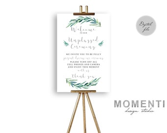Unplugged Ceremony Sign, Unplugged Wedding Sign, Unplugged Sign, No Phones Sign, No Cameras Sign, No Cell Phone Sign, The Jackie Collection