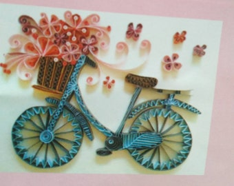 listing for quilling, paperole model bike with basket of flowers