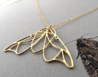 moth necklace moth jewelry gold moth moth charm necklace butterfly nature gift for her