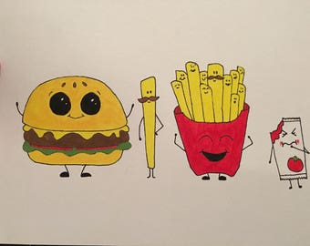 Fast Food Cartoon Painting