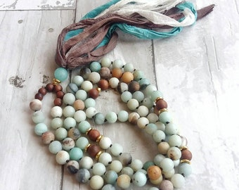 Mala-Yoga meditation prayer beads- sari silk- healing crystals- cancer gift- mala necklace- boho- pastel- gift for her- yoga jewelry- yogi
